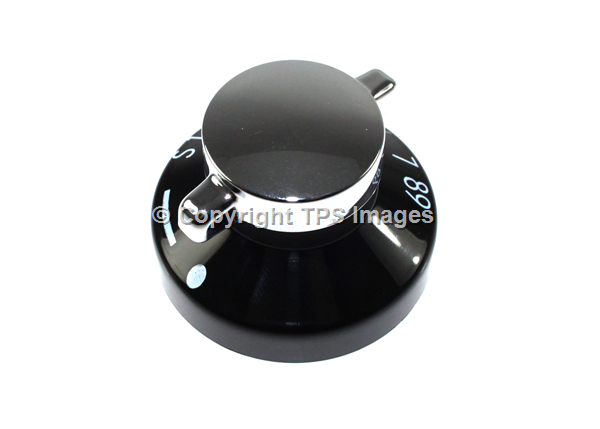 Gas Oven Knob in Black and Chrome for New World Appliances