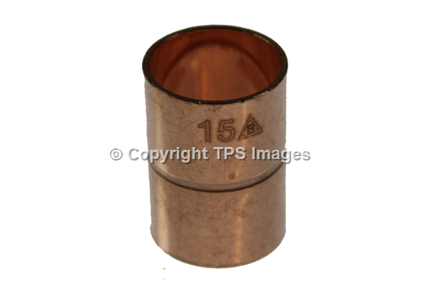 15mm COPPER FEMALE TO FEMALE PIPE COUPLING