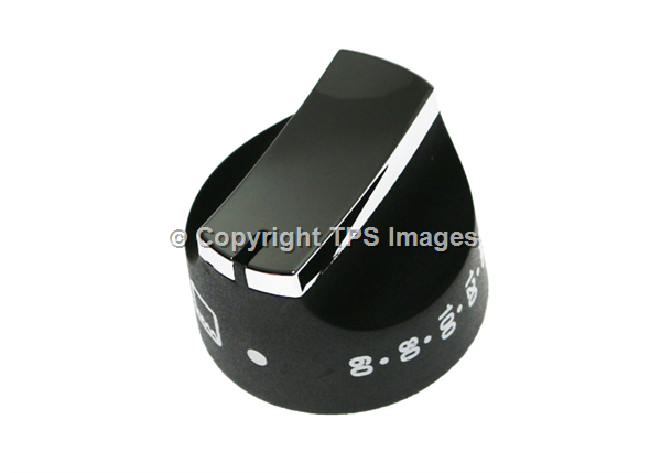 Black and Chrome Oven Knob
